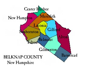 Map of Belknap Co NH showing towns